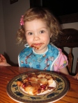 Sophia loved her pears, too--with pomegranate seeds and chocolate sauce!